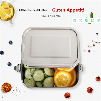 Stainless Steel Lunch Box Bento Box 800ml with Removable Divider Leakproof US