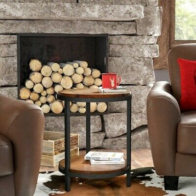 Cabin Style Side Table Round Wood Industrial Modern Furniture Design End Tables