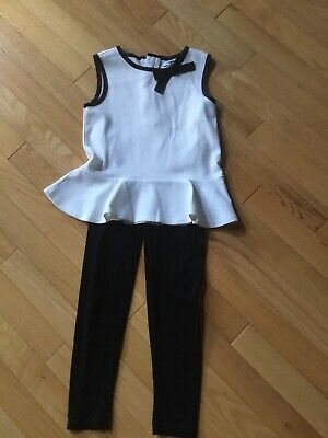DKNY Girls Top M And Black Leggings Small