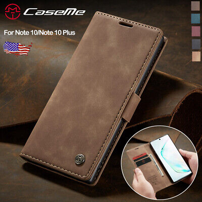 For Samsung Galaxy Note 10 Plus 5G Leather Magnetic Flip Wallet Phone Case Cover