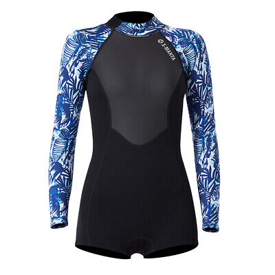 Women Neoprene Nylon Wetsuit Diving Surfing Suit Blue Camouflage Long Sleeve