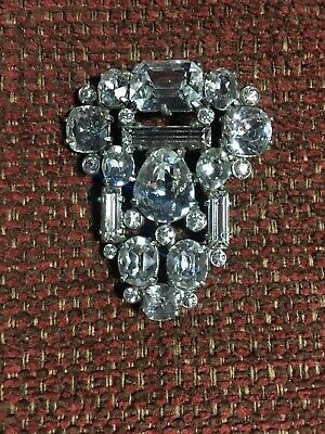 Vintage Antique Art Deco Rhinestone Signed Eisenberg Brooch Pin