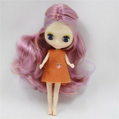 """4.3/"""" Mini Neo Blythe Doll Nude Doll from Factory Mint Green Hair With A Dress"""