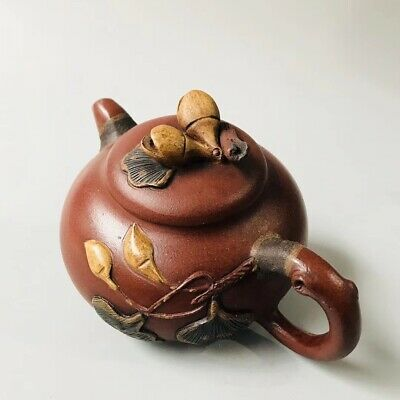 Chinese Exquisite Yixing Zisha Teapot Handmade Carved Leaf 280CC ZSH089