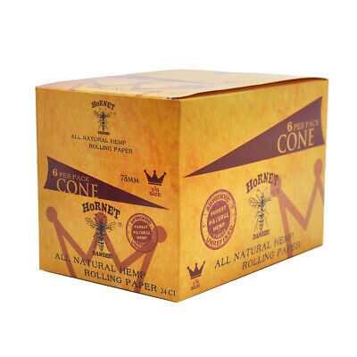 24 Packs 78MM-144 Cones AUTHENTIC HORNET Rolling Paper Pre-Rolled Classic Cones
