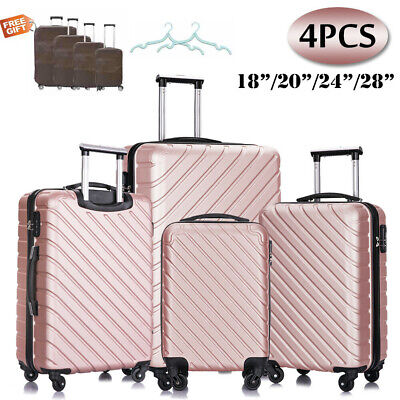 Set of 3 Luggage Set ABS Spinner Travel Lightweight Suitcase 20'' 24'' 28''
