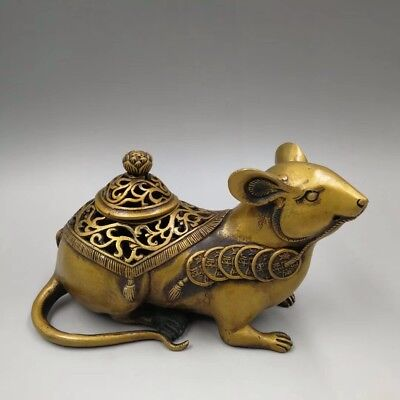 Chinese Old brass sculpture mouse Hollow incense burner Home decoration