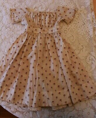 Antique Child's Dress Civil War Era or Large Doll Dress 1800s Watered Rose Print