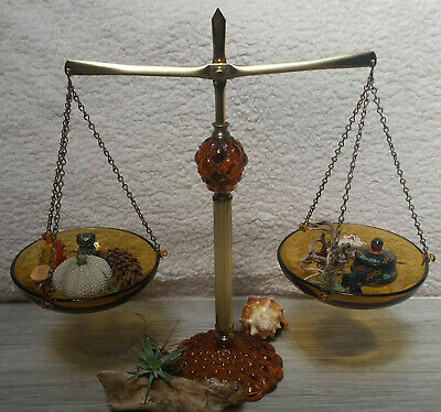 Vintage Princess House Brass and Amber glass scales 1960s hostess set