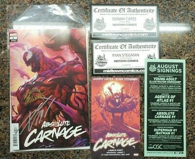 Absolute Carnage #1 Comic Artgerm Lau Cover SIGNED by DONNY CATES RYAN STEGMAN