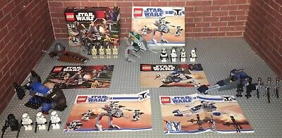Lego 7654 7667 8014 8015 Star Wars Lot 4 Complete Sets Manuals Minifigures