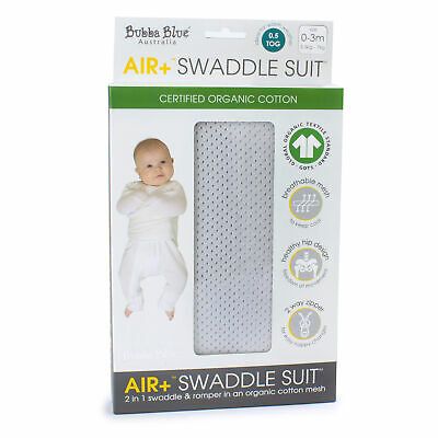 NEW Bubba Blue Air+ Swaddle Suit Grey 0-3months