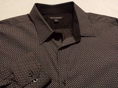 Banana Republic Mens Large Long Sleeve Button-Front Black Geometric Shirt