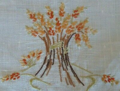 Vintage Hand Embroidered Wheat Design Large Doiley Cream  Hand Crocheted Edge