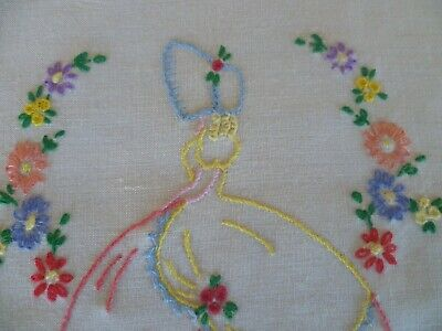 Vintage Hand Embroidered Crinoline Lady Large Doiley Hand Embroidered Edge