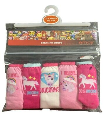 Girls 5 PACK Unicorn 100% Cotton Pants Briefs Knickers Age 2-10 Years