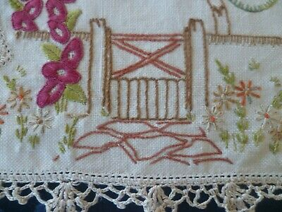 VINTAGE HAND EMBROIDERED GARDEN SMALL DOILEY CREAM HAND CROCHETED EDGE 22 x 25c