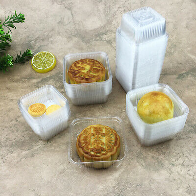 50x Plastic Tray Moon Cake Holder 6.5 7.5 8.5cm Container Clear Food Box Cup