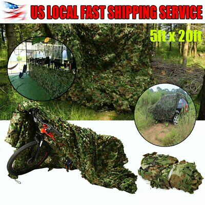 Woodland Leaves Military Camouflage Net Hunting Camo w/String Netting 20x5FT OB