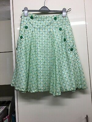 Ladies Girls River island Cotton Full Skirt Size 8 With Button &Pocket Detail