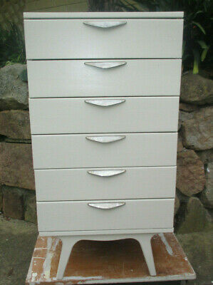 OFF WHITE RETRO / VINTAGE CHEST OF DRAWERS. Ringwood Nth, Vic.