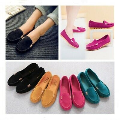 Women Ladies Flat Pumps Faux Suede Moccasin Loafers Slip On Work Comfy Shoes Uk