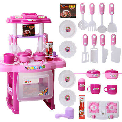 Portable Electronic Children Kids Kitchen Cooking Girls Toy Cooker Play Set Gift