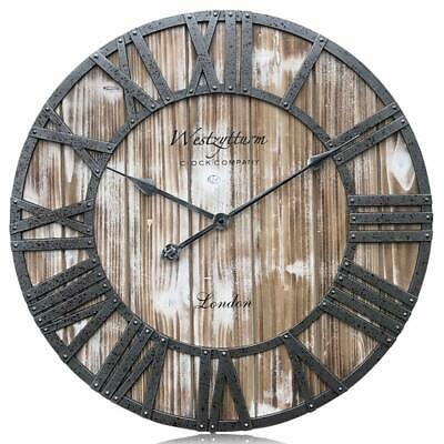 Westzytturm Wooden Clock 24 Inch Farmhouse Wood Clock Extra Large Rustic Wall