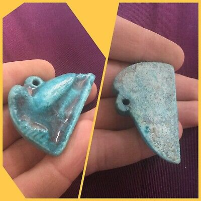 Rare ancient Egyptian blue faience bird amulet pendant , 300 bc .