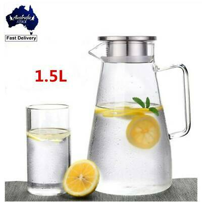 1.5L Glass Pitcher Carafe Water Jug  Water Drinking Juice Iced Tea Pot With Lid