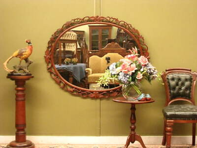 LARGE CARVED MAHOGANY OVAL WALL / OVERMANTLE  MIRROR #2~ BEAUTIFUL DETAIL c2000s