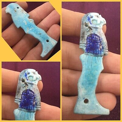 Rare ancient Egyptian blue  Pharaoh bird  amulet, 300 bc