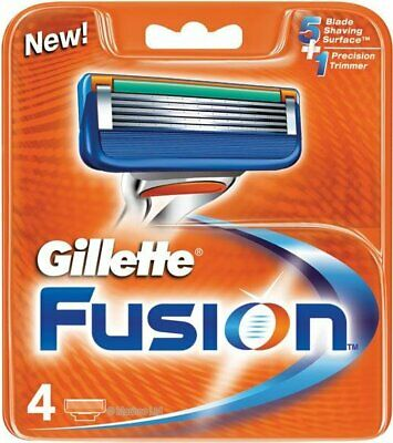 Gillette Fusion Razor Blades 4 Refills Genuine no Fakes orange box 1st class pos