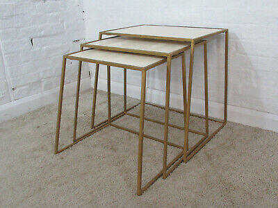 Vintage Retro Industrial Style Gold Metal and Cream Plywood Nest of Three Tables