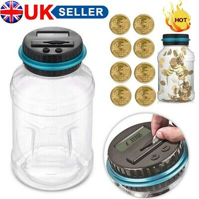 Digital LCD Display Coin Counter Organiser Jar Machine Money Saving Piggy Bank