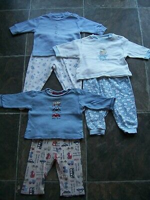 Baby Boy's Cotton Knit Winter Pyjamas x 3 Incl Sprout Size 00 VGUC