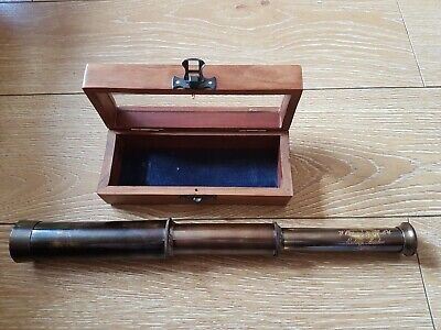 Antique Vintage  Solid Brass  Telescope . W.ottway 1915. In Teak Box