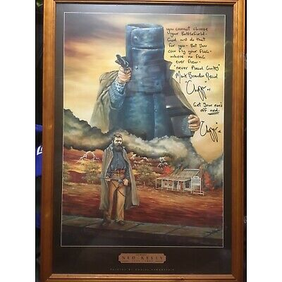 "Ned Kelly framed portrait signed by Mark Brandon ""Chopper"" Reed"