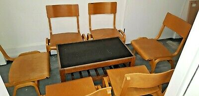 6 Vintage Stacking Upcycled Wooden School Cafe Chairs and coffee table.