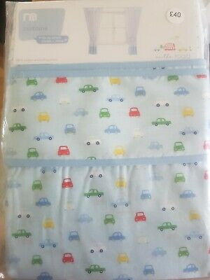 Mothercare On the Road Curtains & Tie Backs - Blue & White with cars. BN RRP £40