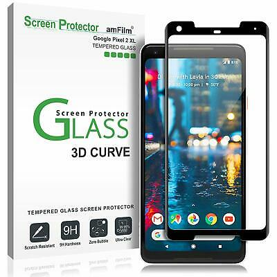 Google Pixel 2 XL Screen Protector Glass, amFilm Full Cover (3D Curved) Tempered