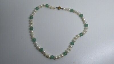 Vintage Jade & Pearl Knotted Necklace