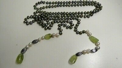 Vintage Jade & Black / White Natural Pearl Knotted Tassle Long Necklace