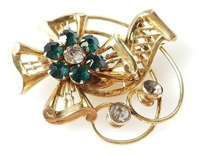 Antique Vintage Fancy 12k Gold Filled Brooch with Colored Stones