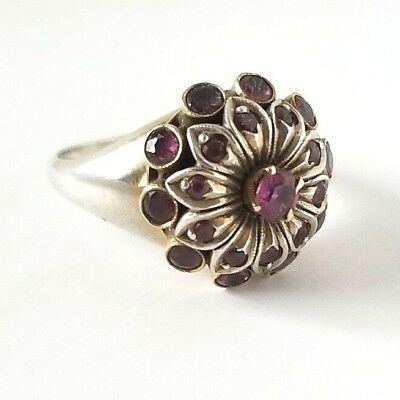 Vintage Mid Century Solid Gold And Sterling Floral Ring Amethyst Or Ruby Size 6