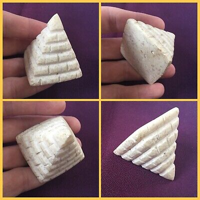 Rare ancient Egyptian alabasta pyramid amulet, 300 bc