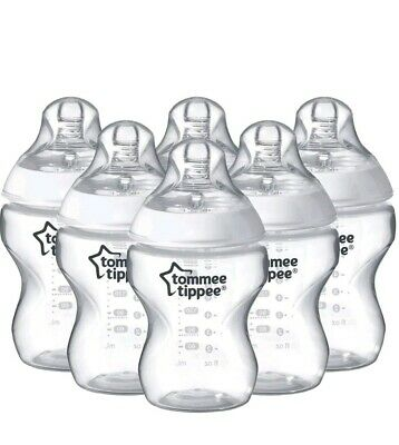 6 x Tommee Tippee Closer To Nature Clear 260ml Baby Feeding Bottles Pack 0m+