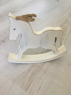Nursery Decor Wooden Distressed Rocking Horse Baby Shower Gift New Baby Gift