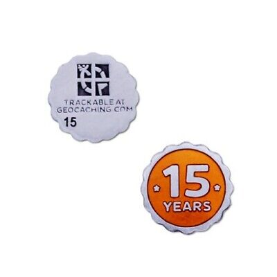 15 years of Geocaching nano Geocoin - new, packaged + unactivated