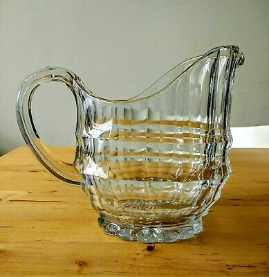 Art Deco 1930s 'Jacobean' Davidson Chippendale Pressed Glass Water Jug/Pitcher